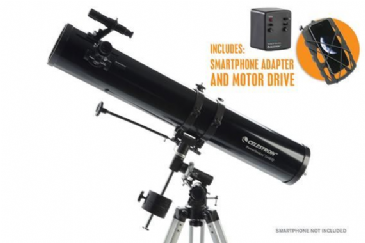 "PowerSeeker 114EQ Newtonian with Motor Drive and 1.25"" Smart Phone Adapter"